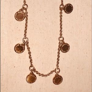 Marc Jacobs gold tone disk necklace rare!